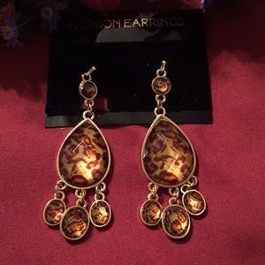4/$30 SALE-New Erica Lyons Leopard Drop Earrings